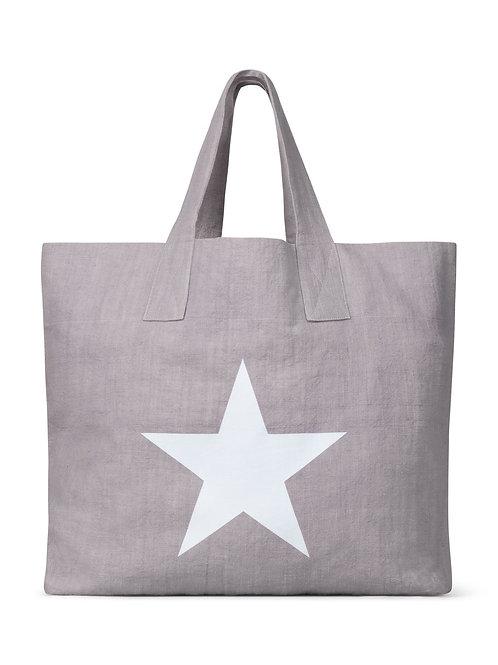 Chalk Shopper Bag - Silver with Star