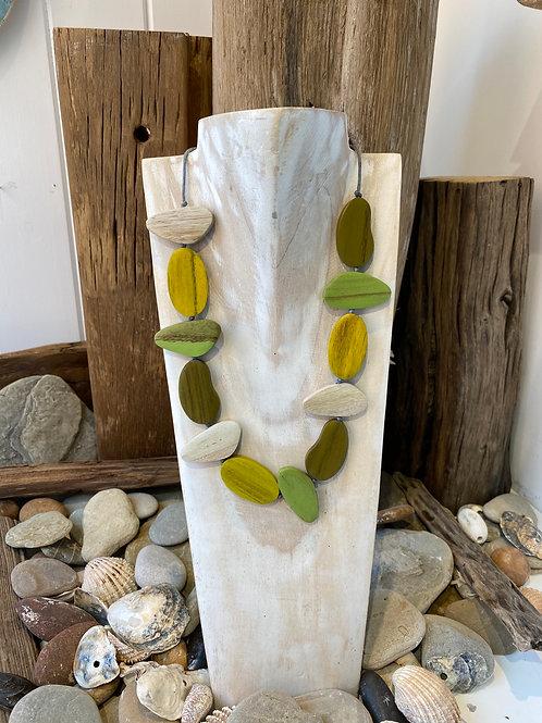 Asymmetric Pebble Necklace - Green