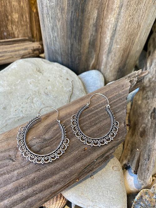 Carved Hoop Earrings