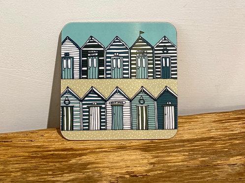 Beach Huts Coaster (Blue/Beige)