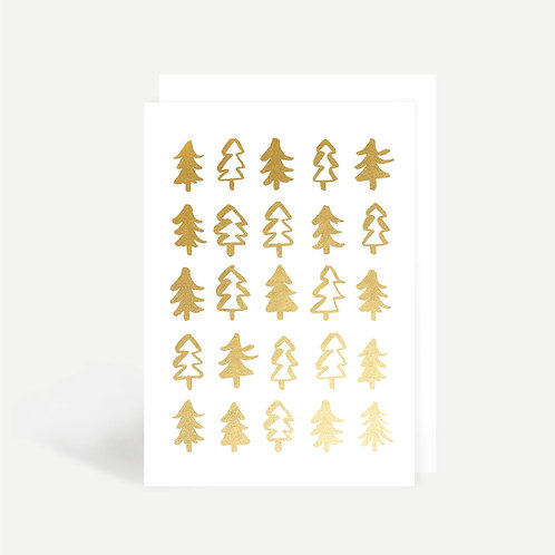 Gold Christmas Trees Card