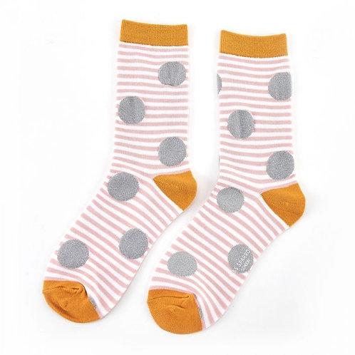 Miss Sparrow Sparkle Spots and Stripes Socks