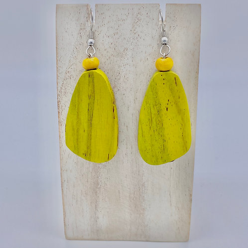 Wooden Pebble Earrings - Mustard