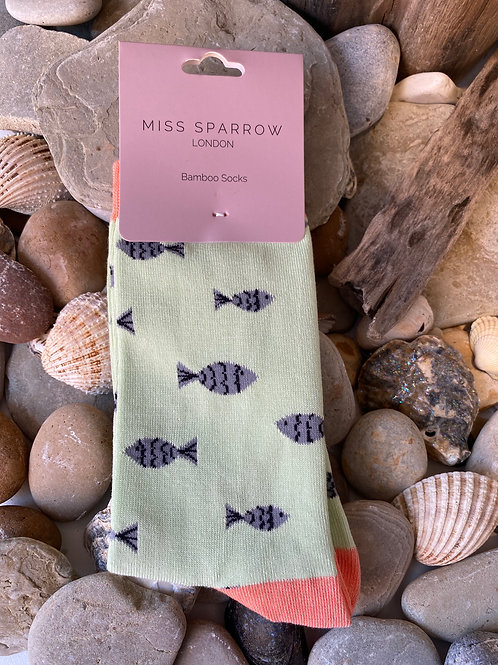 Mint Little Fish Socks