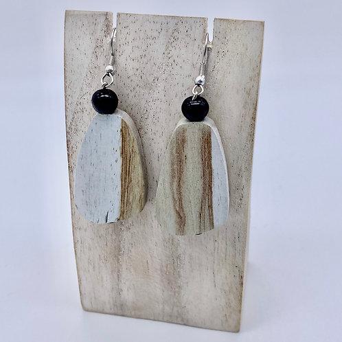 Wooden Pebble Earrings - White/Cream