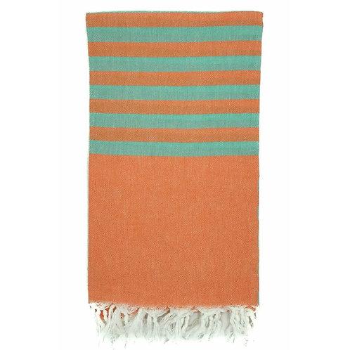 Lightweight Hamam Towel - Spice/Aqua