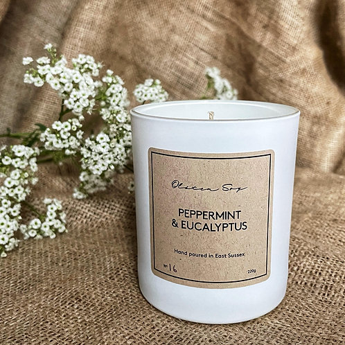 Olsten Soy Peppermint and Eucalyptus Candle