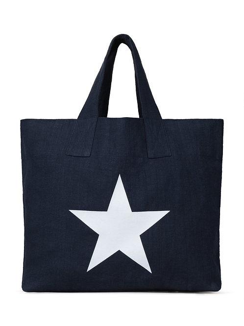 Chalk Shopper Bag - Navy with Star