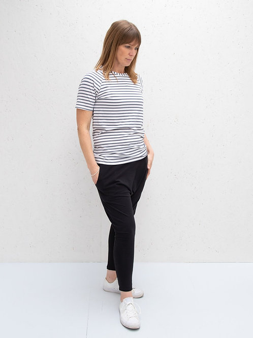 Chalk Darcey Top - Charcoal Stripes
