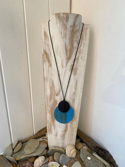 Double Disk Pendant Necklace - Blue