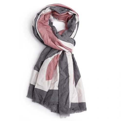 Heart Print Scarf - Pink/Grey