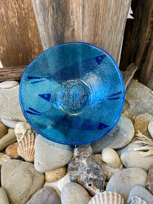 Blue Fish Glass Bowl