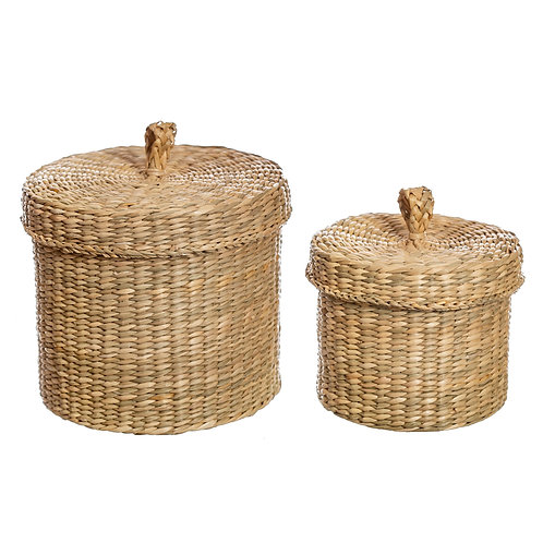 Seagrass Baskets with Lids - Set of 2