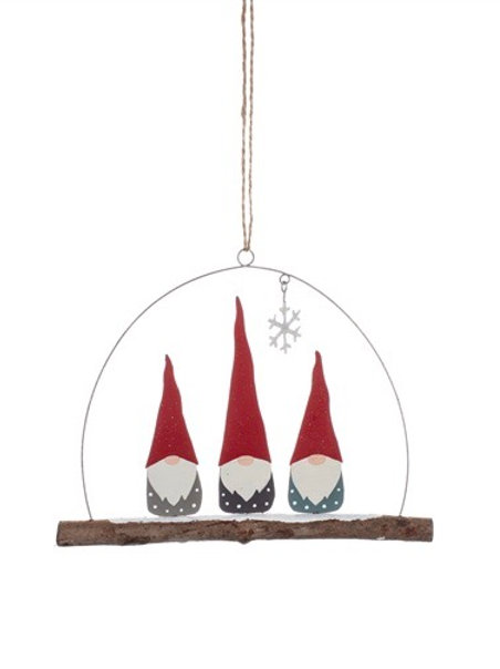 Hanging Trio of Tomte Sitting Gnomes