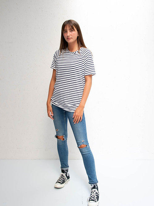 Chalk Darcey Top - Navy Stripes