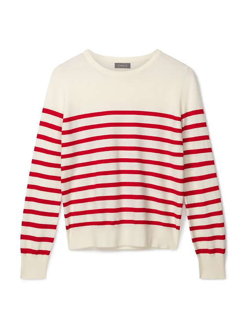 Chalk Jane Jumper -Ecru/Red