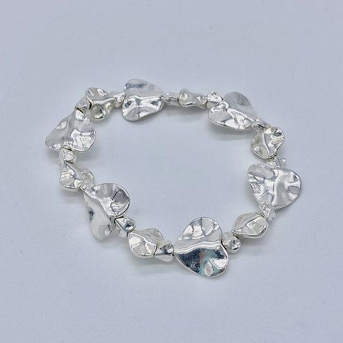 Silver Plated Beaten Heart Bracelet