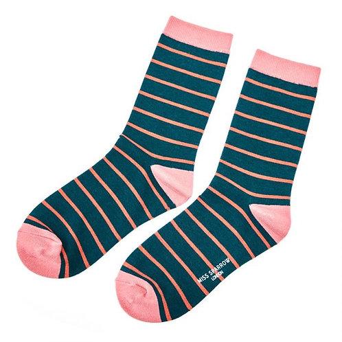 Miss Sparrow Pink Stripes Socks