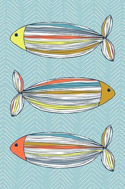 Fish in Colour Greetings Card