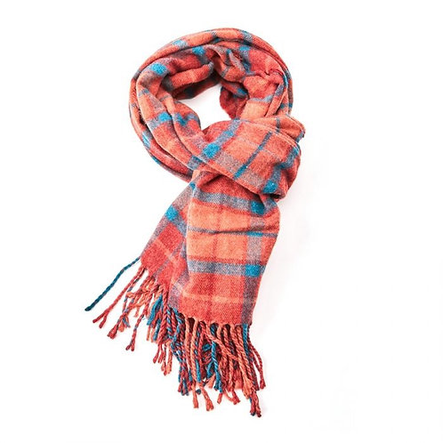 Alice Winter Scarf - Orange Tartan