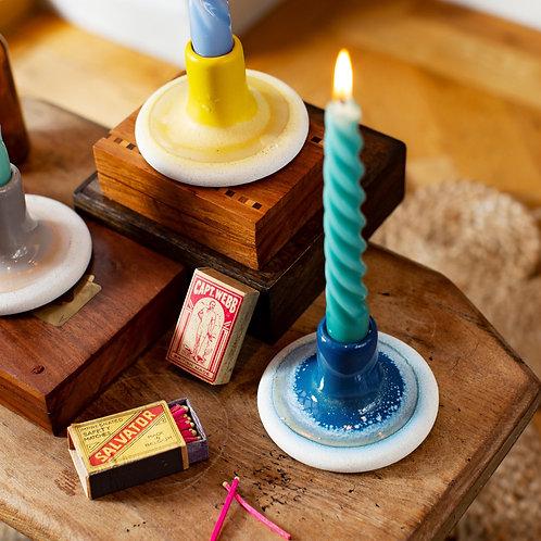 Blue Ombré Glaze Candle Holder
