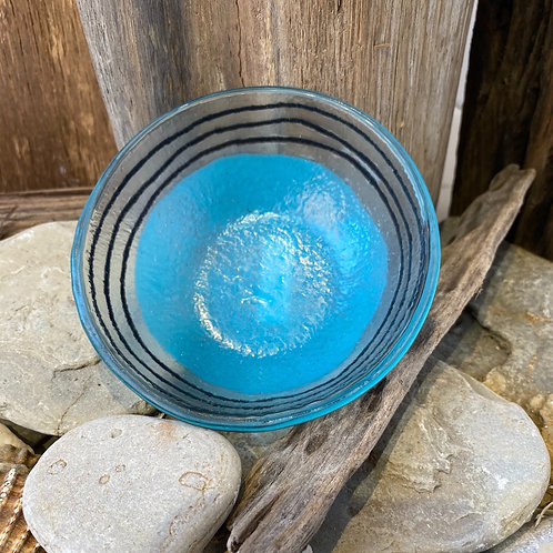 Blue Stripe Glass Bowl
