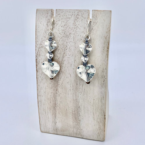 Silver Plated Beaten Heart Earrings