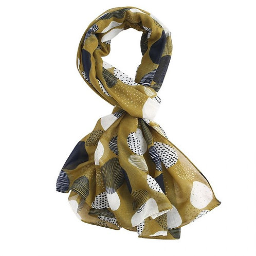Circles Print Lightweight Scarf - Olive
