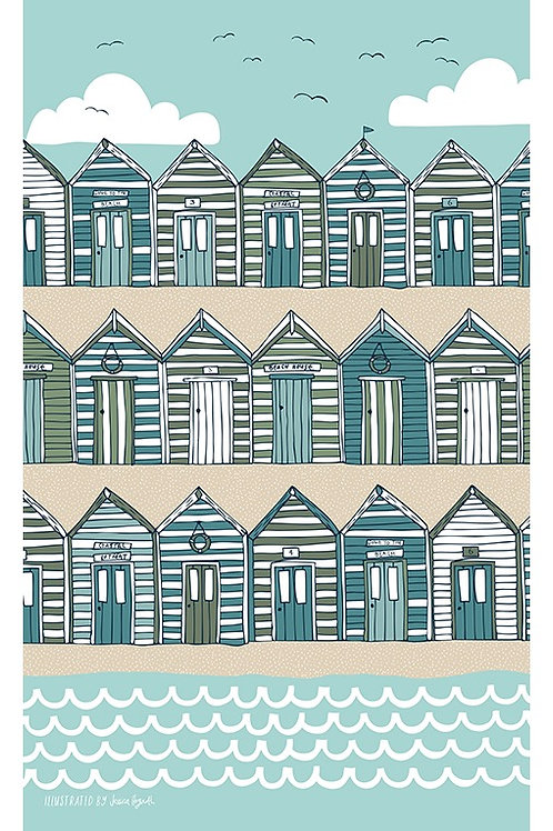 Beach Huts Tea Towel (Blue/Beige)