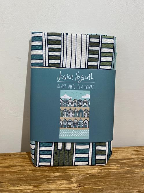 Beach Huts Tea Towel (Blue/Beige)
