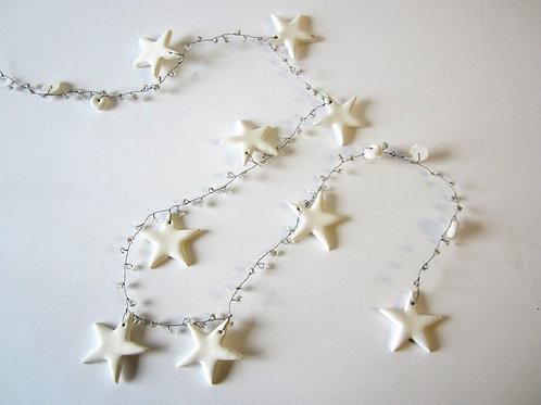 White Star and Bead Garland