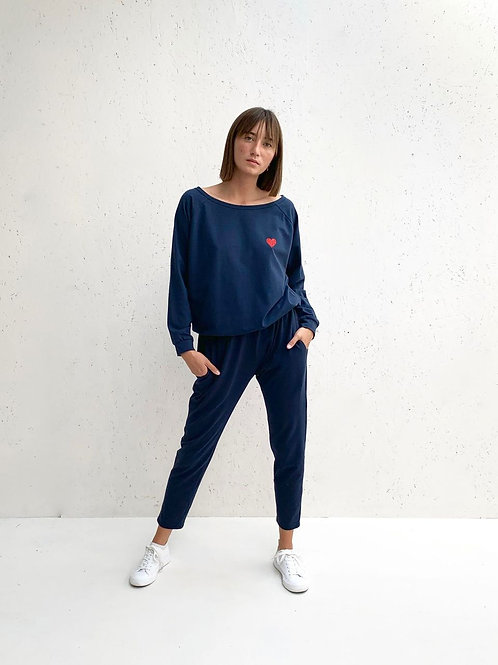 Chalk Holly Top - Navy/Red Heart