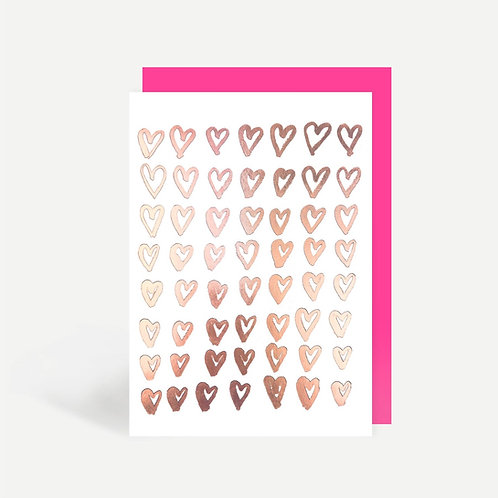 Rose Gold Hearts Card