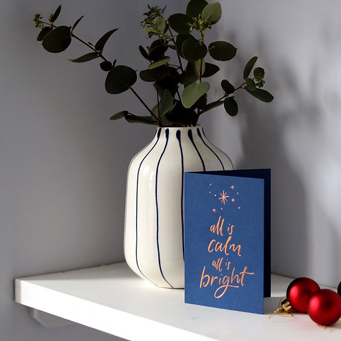 'All is Calm, All is Bright' Christmas Card
