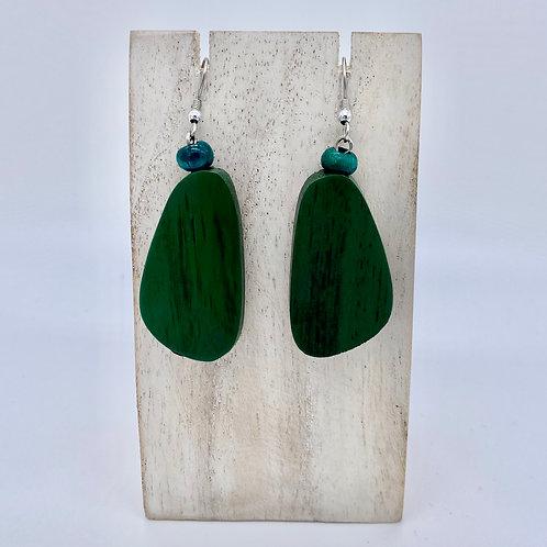 Wooden Pebble Earrings - Dark Green