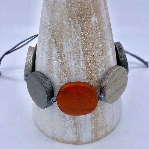 Adjustable Wooden Bracelet - Orange