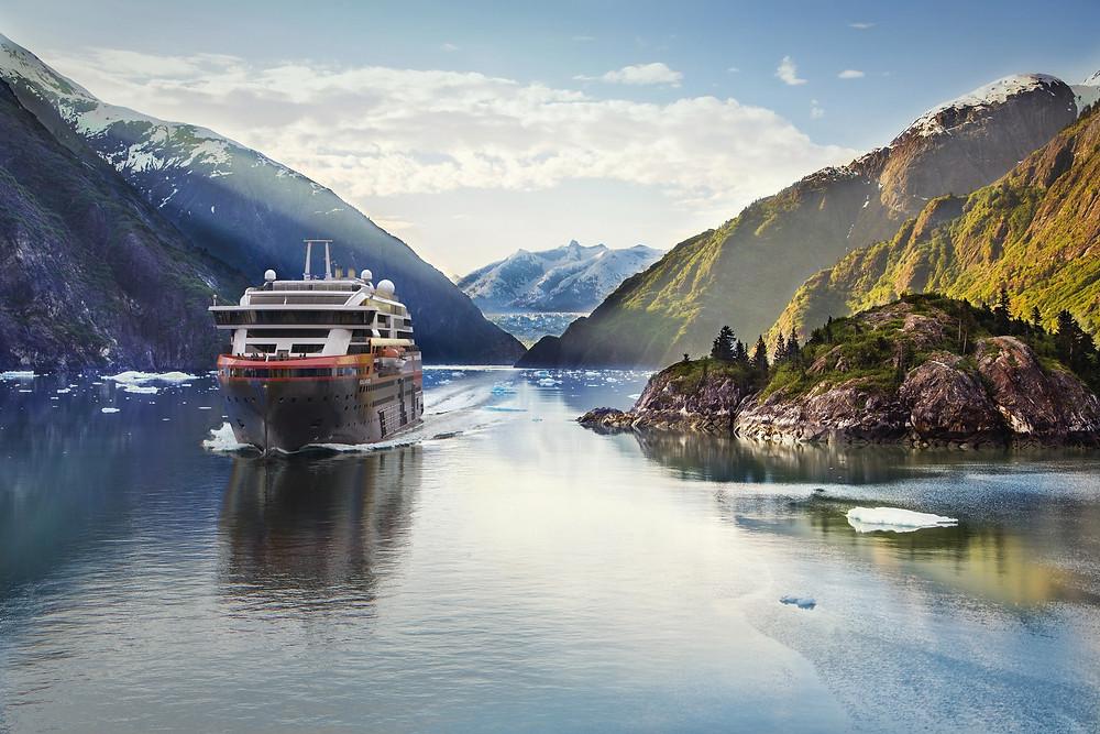 MS roald Amundsen in Tracy Arm Fjord