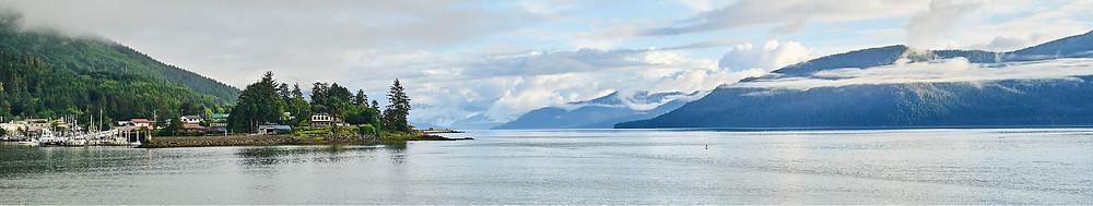 Wrangell Alaska coastline panoramic scenery