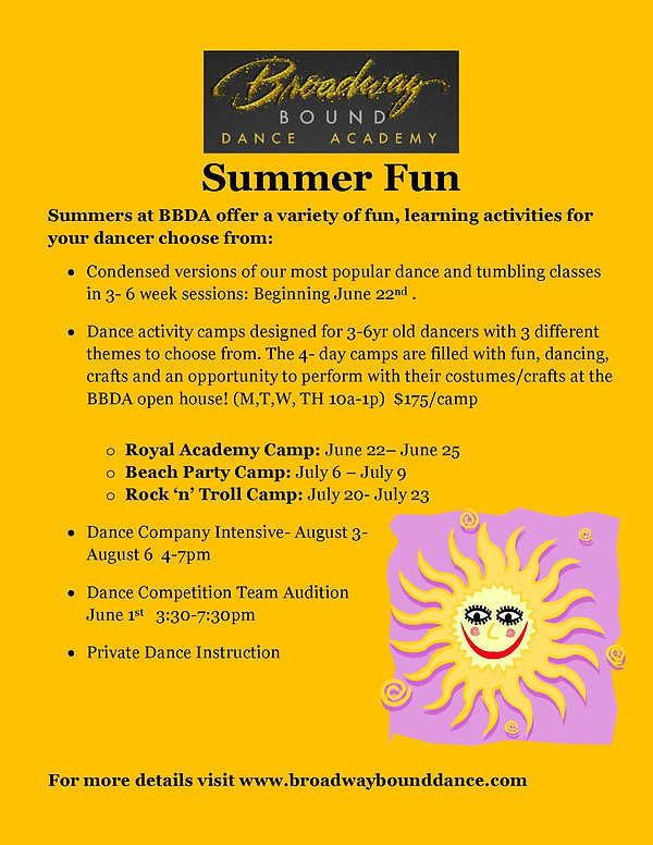 Have summer fun at Broadway Bound Dance Academy through condensed version of our most popular dance and tumbling classes in a 3-6 week session beginning June 22, 2020. Dance activity camps are designed for 3-6 year old dancers with 3 different themes to choose from.