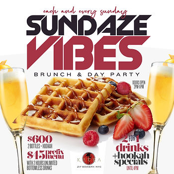 EVERY SUNDAY...BRUNCH & DAY PARTY @KATRA 217 BOWERY ST, MANHATTAN NYC...DOORS OPEN 2PM-10PM...EVERYONE FREE UNTIL 5PM WITH RSVP...FOOD AVAILABLE ALL NIGHT...2 HOUR BRUNCH SEATING 2PM-4PM, 4PM-6PM, 6PM-8PM OR 8PM-10PM...$45 PRE-FIX MENU PER PERSON INCLUDES 1 APPETIZER, 1 ENTREE & 2 HOURS OF UNLIMITED MIMOSAS OR BELLINI'S...BOTTLE SERVICE STARTING AT 2 BOTTLES FOR $500...$50 DEPOSIT REQUIRED FOR ALL BRUNCH RESERVATIONS...Text/call 646.522.5400 OR FRESH4THECITY@GMAIL.COM FOR MORE INFO...RSVP LINK BELOW FOR MORE DETAILED INFO