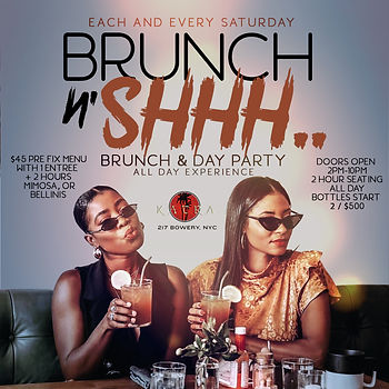 EVERY SATURDAY...BRUNCH & DAY PARTY @KATRA 217 BOWERY ST, MANHATTAN NYC...DOORS OPEN 2PM-10PM...EVERYONE FREE UNTIL 5PM WITH RSVP...FOOD AVAILABLE ALL NIGHT...2 HOUR BRUNCH SEATING 2PM-4PM, 4PM-6PM, 6PM-8PM OR 8PM-10PM...$45 PRE-FIX MENU PER PERSON INCLUDES 1 APPETIZER, 1 ENTREE & 2 HOURS OF UNLIMITED MIMOSAS OR BELLINI'S...BOTTLE SERVICE STARTING AT 2 BOTTLES FOR $500...$50 DEPOSIT REQUIRED FOR ALL BRUNCH RESERVATIONS...Text/call 646.522.5400 or CeoFresh@gmail.Com For More Info...RSVP LINK BELOW FOR MORE DETAILED INFO
