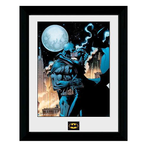 DC Batman Batman & Catwomen holdfényes csókjelenet keretezett kép