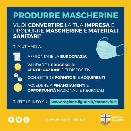 Regione Liguria - EMERGENZA MASCHERINE E PRESIDI DI PROTEZIONE. RICONVERTIAMO LE IMPRESE
