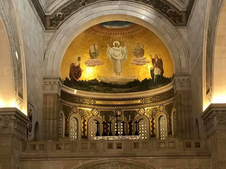Below:  The mail altar in the Basilica of the Transfiguration