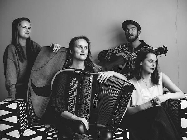 Vuolas band; Emma Lomy, Aurora Visa, Verna Kylmänen and Onni Rajaniemi