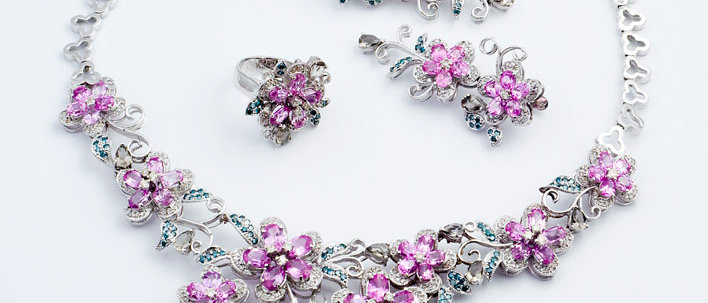 Pink Sapphire Floral Set