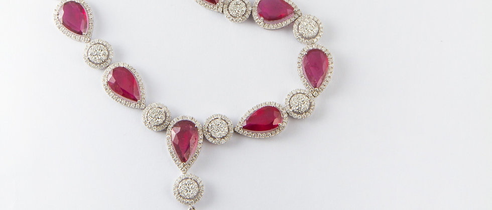 Ruby & Diamond Necklace in White Gold