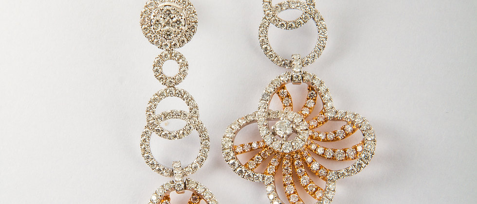 Two-Toned Dangling Earring with Diamonds