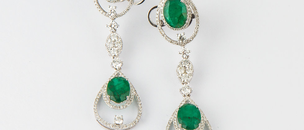 Green Emerald Dangling Earring in Twos