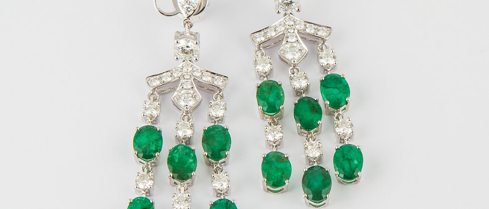 Green Emerald Dangling Earring